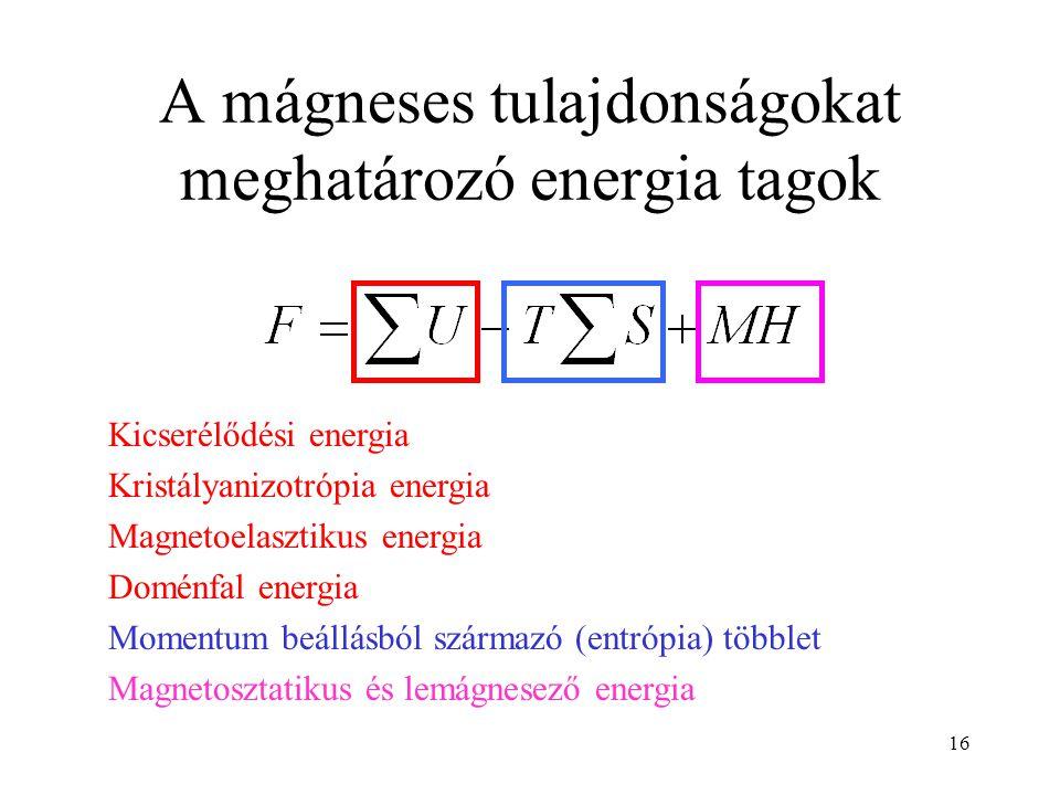 16 A mágneses tulajdonságokat meghatározó energia tagok Kicserélődési energia Kristályanizotrópia energia Magnetoelasztikus energia Doménfal energia M
