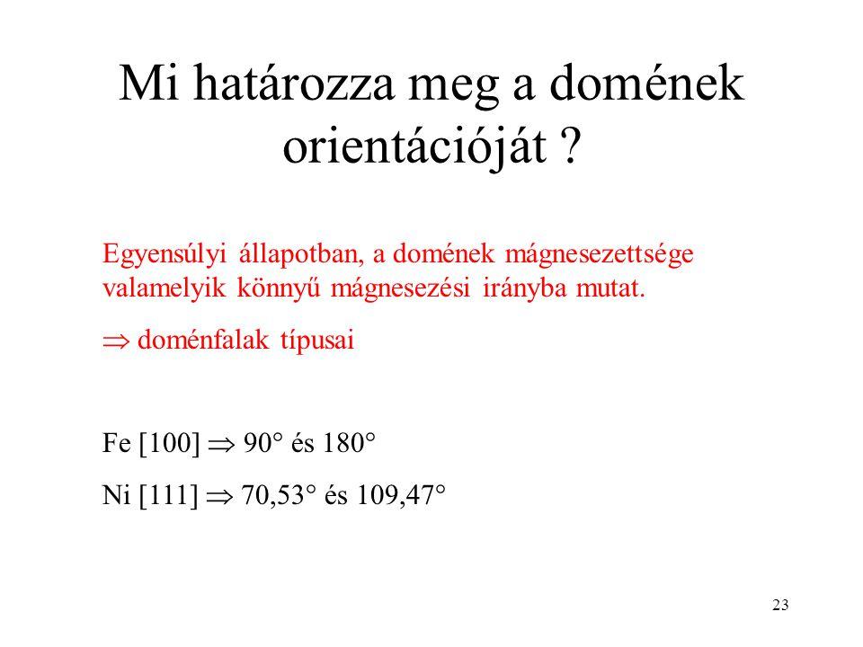 23 Mi határozza meg a domének orientációját ? Egyensúlyi állapotban, a domének mágnesezettsége valamelyik könnyű mágnesezési irányba mutat.  doménfal