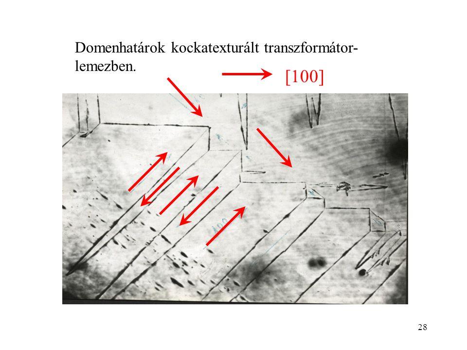 28 Domenhatárok kockatexturált transzformátor- lemezben. [100]