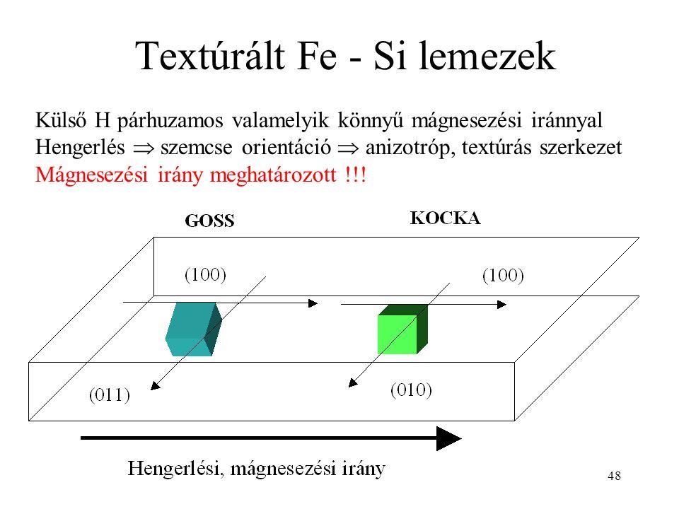 48 Textúrált Fe - Si lemezek Külső H párhuzamos valamelyik könnyű mágnesezési iránnyal Hengerlés  szemcse orientáció  anizotróp, textúrás szerkezet Mágnesezési irány meghatározott !!!