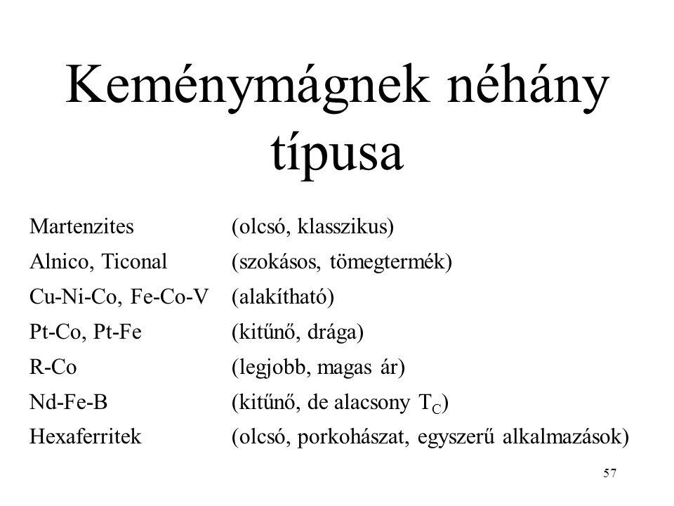 57 Keménymágnek néhány típusa Martenzites(olcsó, klasszikus) Alnico, Ticonal (szokásos, tömegtermék) Cu-Ni-Co, Fe-Co-V(alakítható) Pt-Co, Pt-Fe(kitűnő, drága) R-Co(legjobb, magas ár) Nd-Fe-B(kitűnő, de alacsony T C ) Hexaferritek(olcsó, porkohászat, egyszerű alkalmazások)