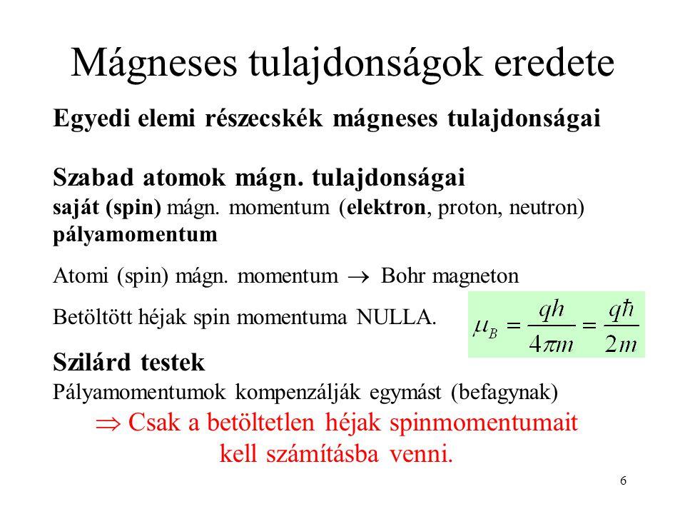 6 Mágneses tulajdonságok eredete Egyedi elemi részecskék mágneses tulajdonságai Szabad atomok mágn. tulajdonságai saját (spin) mágn. momentum (elektro