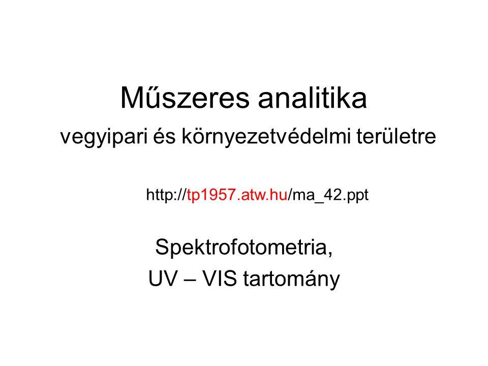 Műszeres analitika vegyipari és környezetvédelmi területre Spektrofotometria, UV – VIS tartomány http://tp1957.atw.hu/ma_42.ppt