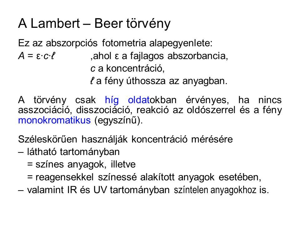 A Lambert – Beer törvény Ez az abszorpciós fotometria alapegyenlete: A = ε·c·ℓ,ahol ε a fajlagos abszorbancia, c a koncentráció, ℓ a fény úthossza az