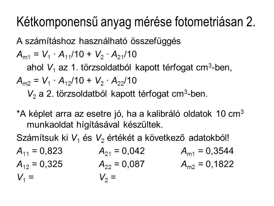 Kétkomponensű anyag mérése fotometriásan 2. A számításhoz használható összefüggés A m1 = V 1 · A 11 /10 + V 2 · A 21 /10 ahol V 1 az 1. törzsoldatból