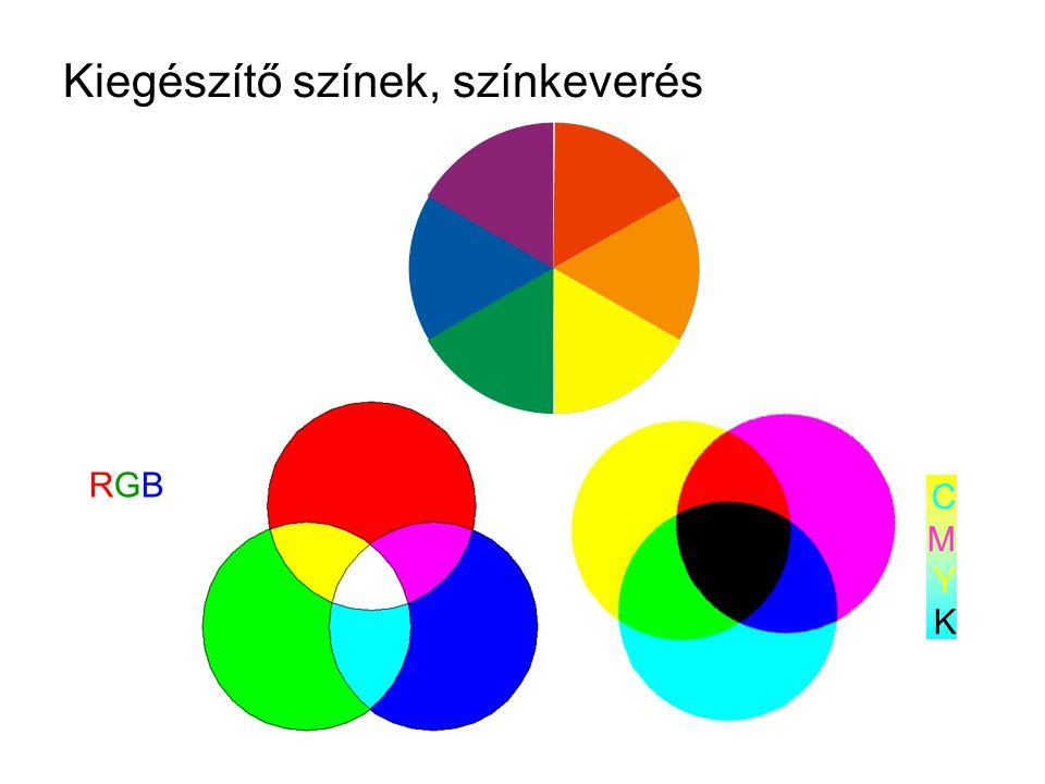 Kiegészítő színek, színkeverés RGBRGB CMYKCMYK