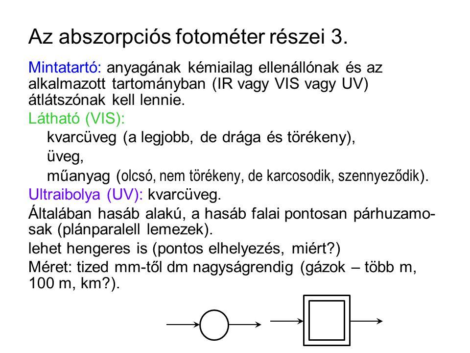 Az abszorpciós fotométer részei 3. Mintatartó: anyagának kémiailag ellenállónak és az alkalmazott tartományban (IR vagy VIS vagy UV) átlátszónak kell