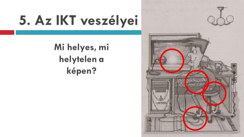 5. Az IKT veszélyei Mi helyes, mi helytelen a képen?