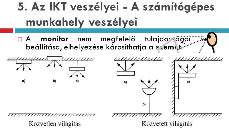 5. Az IKT veszélyei - A számítógépes munkahely veszélyei  A monitor nem megfelelő tulajdonságai vagy beállítása, elhelyezése károsíthatja a szemet. 