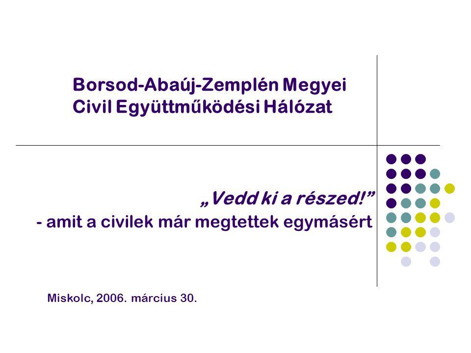 """""""Vedd ki a részed! - amit a civilek már megtettek egymásért Borsod-Abaúj-Zemplén Megyei Civil Együttm ű ködési Hálózat Miskolc, 2006."""