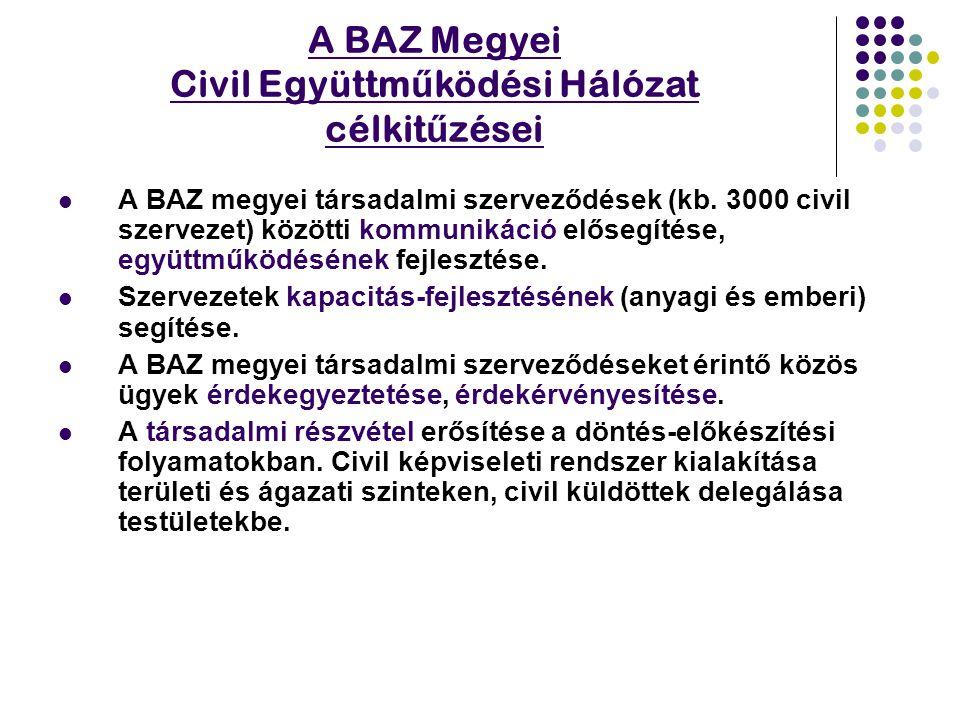 A BAZ megyei társadalmi szerveződések (kb.