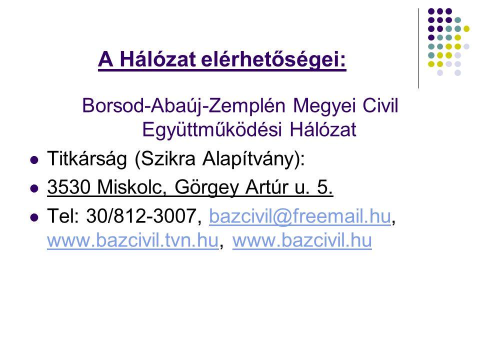 A Hálózat elérhetőségei: Borsod-Abaúj-Zemplén Megyei Civil Együttműködési Hálózat Titkárság (Szikra Alapítvány): 3530 Miskolc, Görgey Artúr u.