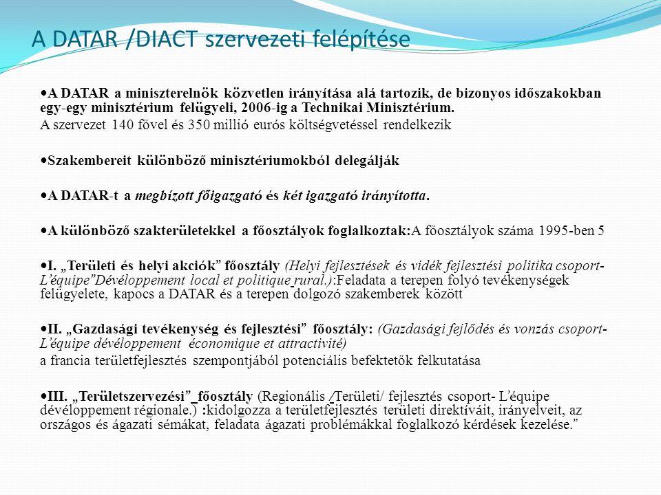 A DATAR /DIACT szervezeti felépítése A DATAR a minisztereln ö k k ö zvetlen ir á ny í t á sa al á tartozik, de bizonyos időszakokban egy-egy miniszt é rium fel ü gyeli, 2006-ig a Technikai Miniszt é rium.