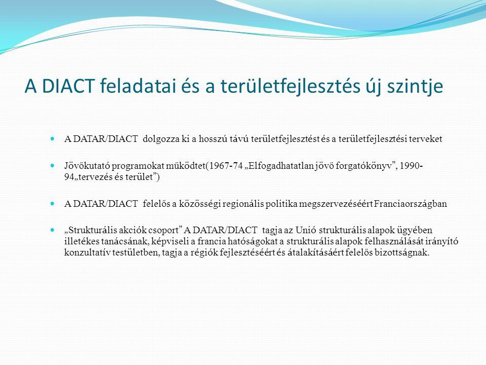 """A DIACT feladatai és a területfejlesztés új szintje A DATAR/DIACT dolgozza ki a hossz ú t á v ú ter ü letfejleszt é st é s a ter ü letfejleszt é si terveket J ö vőkutat ó programokat műk ö dtet(1967-74 """" Elfogadhatatlan j ö vő forgat ó k ö nyv , 1990- 94 """" tervez é s é s ter ü let ) A DATAR/DIACT felelős a k ö z ö ss é gi region á lis politika megszervez é s éé rt Franciaorsz á gban """" Struktur á lis akci ó k csoport A DATAR/DIACT tagja az Uni ó struktur á lis alapok ü gy é ben illet é kes tan á cs á nak, k é pviseli a francia hat ó s á gokat a struktur á lis alapok felhaszn á l á s á t ir á ny í t ó konzultat í v test ü letben, tagja a r é gi ó k fejleszt é s éé rt é s á talak í t á s áé rt felelős bizotts á gnak."""