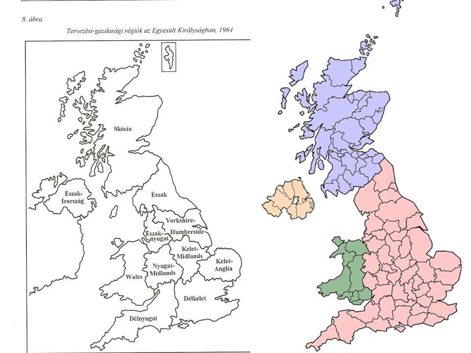 Skócia Nagy-Britannia területének 1/3-a legritkábban benépesült és az el- és kivándorlás ezt a területet sújtotta a legjobban Ny: felszámolás alatt lévő kőszénbányászat; szarvasmarha és juhtenyésztés K: földművelés, vegyes könnyűipar 1980-as évektől kezdődtek mikroelektronikai beruházások (KMT) sok esetben a kőolajból származó bevétel elkerül a régióból és a munkások sem itt élnek