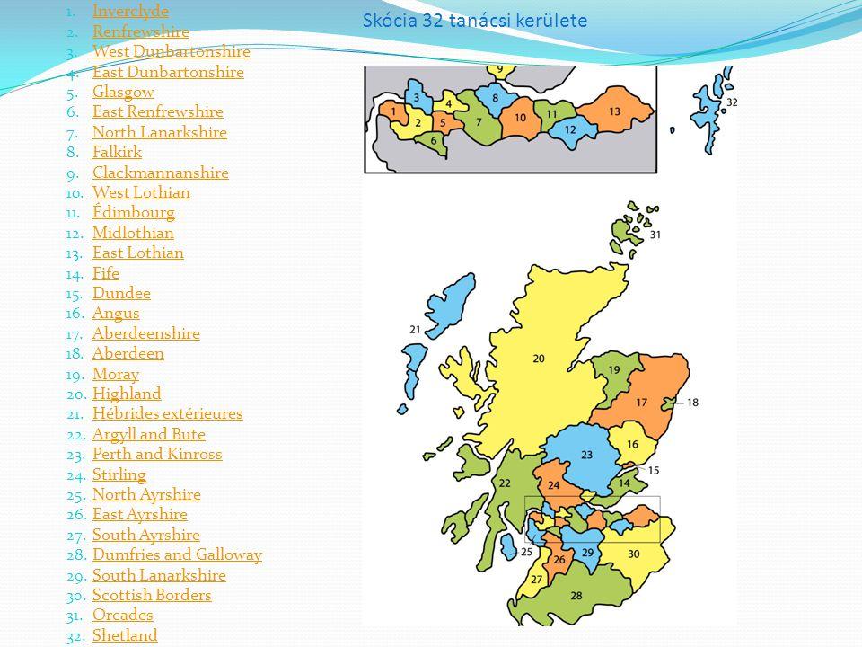 Skócia 32 tanácsi kerülete 1.Inverclyde Inverclyde 2.