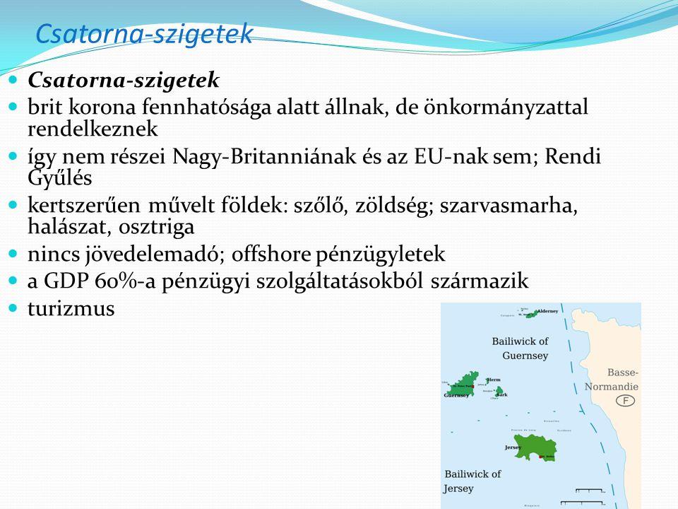 Csatorna-szigetek brit korona fennhatósága alatt állnak, de önkormányzattal rendelkeznek így nem részei Nagy-Britanniának és az EU-nak sem; Rendi Gyűlés kertszerűen művelt földek: szőlő, zöldség; szarvasmarha, halászat, osztriga nincs jövedelemadó; offshore pénzügyletek a GDP 60%-a pénzügyi szolgáltatásokból származik turizmus