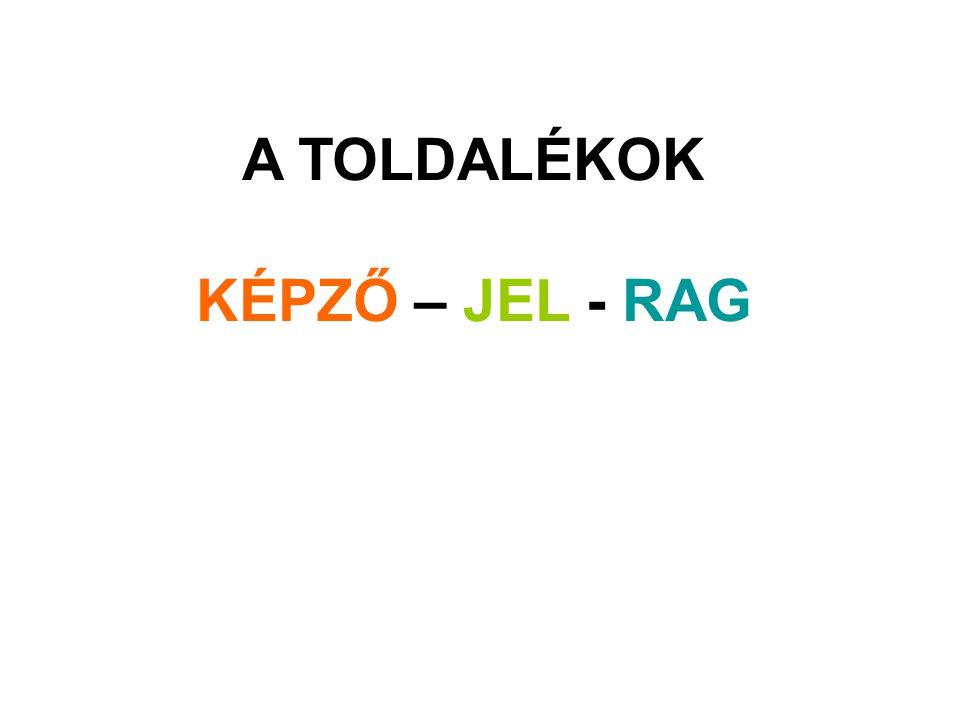 A TOLDALÉKOK KÉPZŐ – JEL - RAG