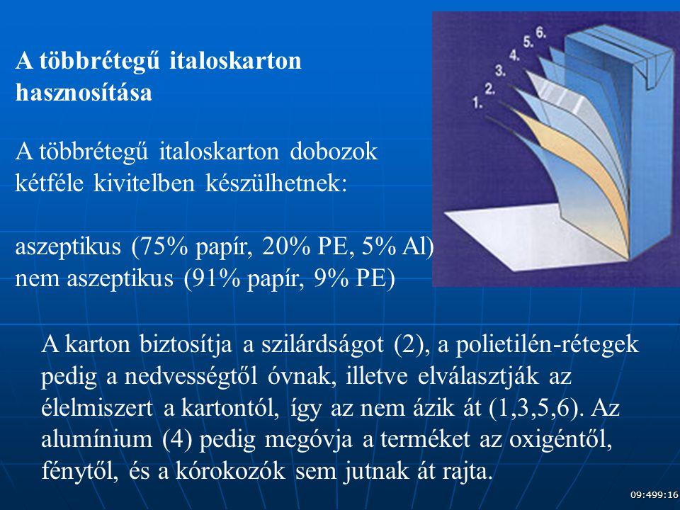 A többrétegű italoskarton hasznosítása A többrétegű italoskarton dobozok kétféle kivitelben készülhetnek: aszeptikus (75% papír, 20% PE, 5% Al) nem as