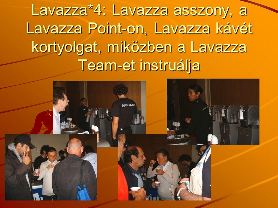 Lavazza*4: Lavazza asszony, a Lavazza Point-on, Lavazza kávét kortyolgat, miközben a Lavazza Team-et instruálja