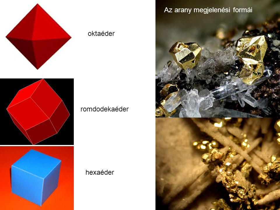 oktaéder romdodekaéder hexaéder Az arany megjelenési formái