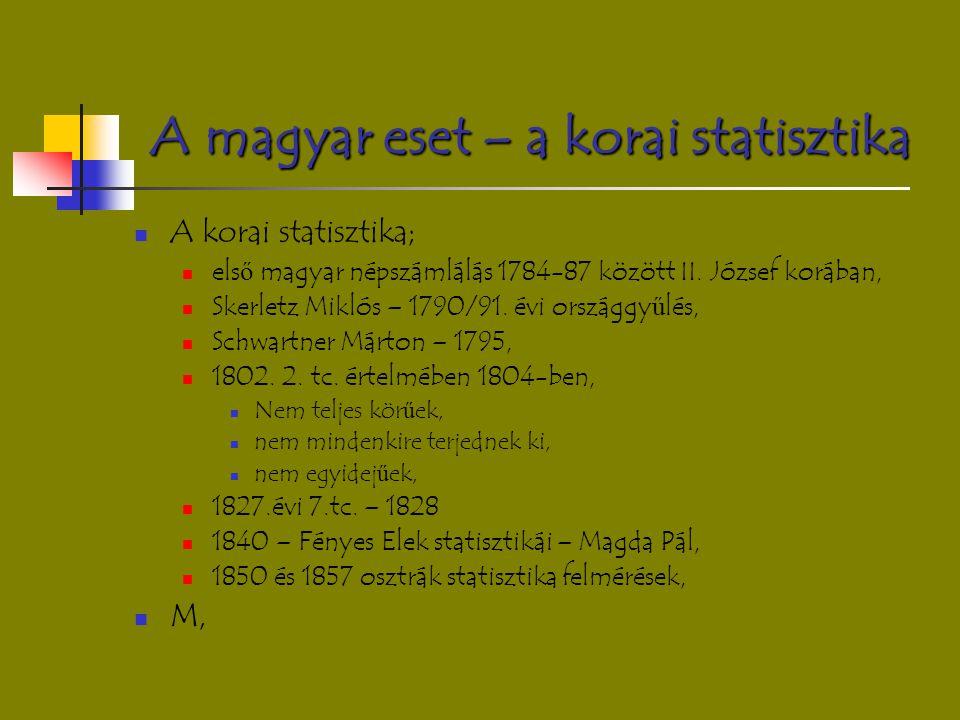 A magyar eset – a korai statisztika A korai statisztika; els ő magyar népszámlálás 1784-87 között II. József korában, Skerletz Miklós – 1790/91. évi o
