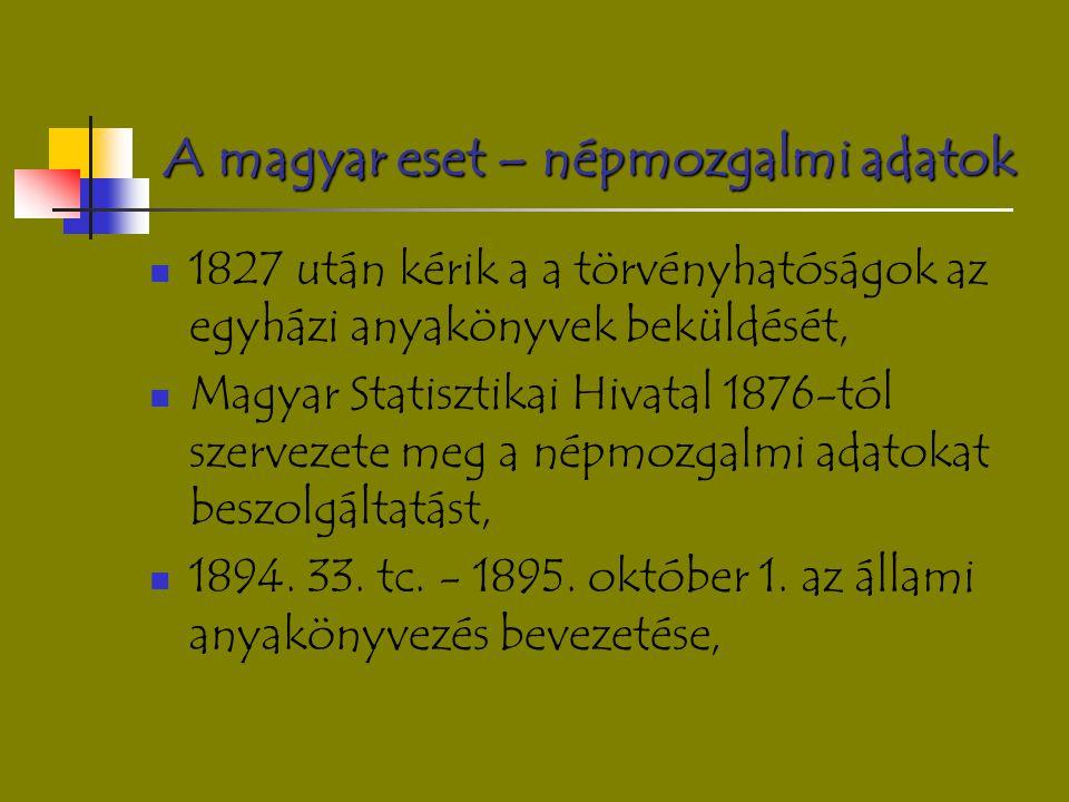 A magyar eset – népmozgalmi adatok 1827 után kérik a a törvényhatóságok az egyházi anyakönyvek beküldését, Magyar Statisztikai Hivatal 1876-tól szerve