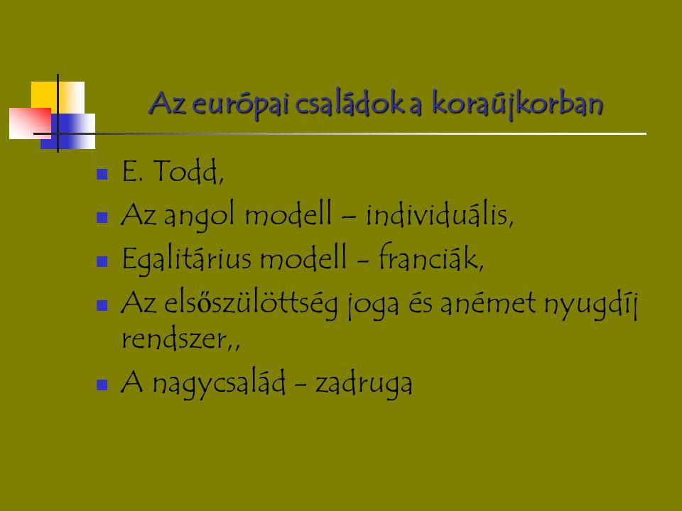 Az európai családok a koraújkorban E. Todd, Az angol modell – individuális, Egalitárius modell - franciák, Az els ő szülöttség joga és anémet nyugdíj