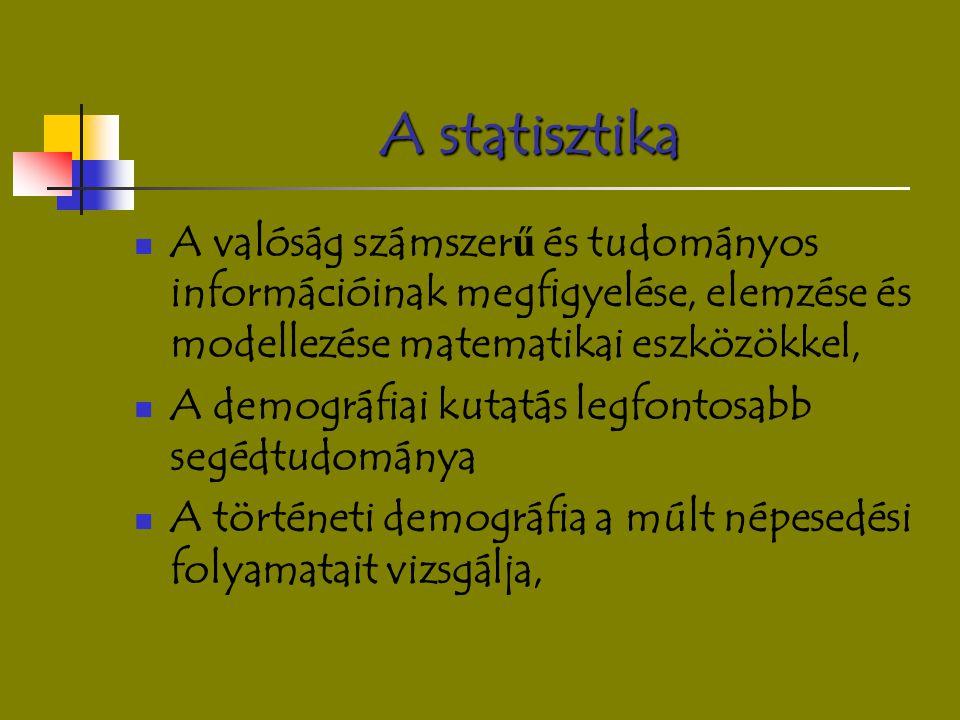 A statisztika A valóság számszer ű és tudományos információinak megfigyelése, elemzése és modellezése matematikai eszközökkel, A demográfiai kutatás l