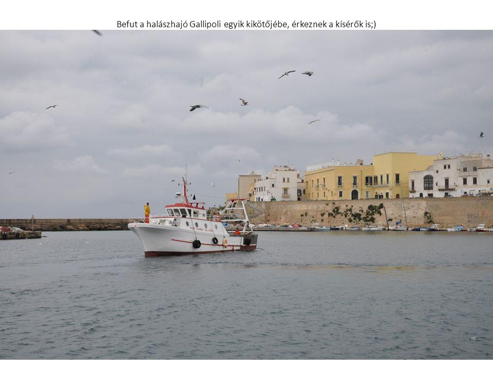 Befut a halászhajó Gallipoli egyik kikötőjébe, érkeznek a kísérők is;)