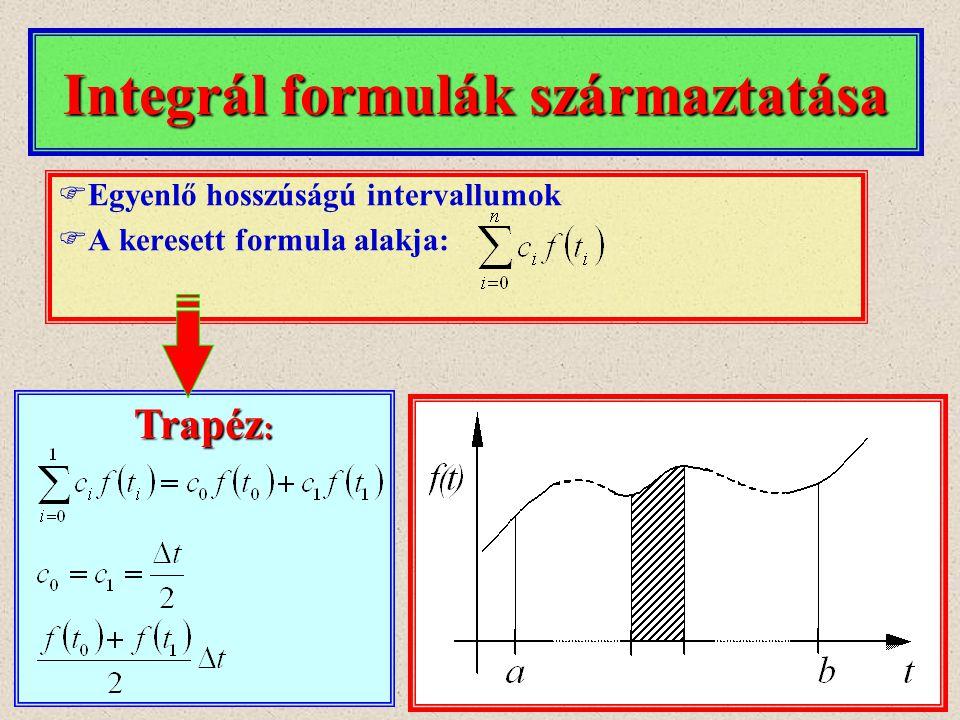 Integrál formulák származtatása Trapéz :  Egyenlő hosszúságú intervallumok  A keresett formula alakja: