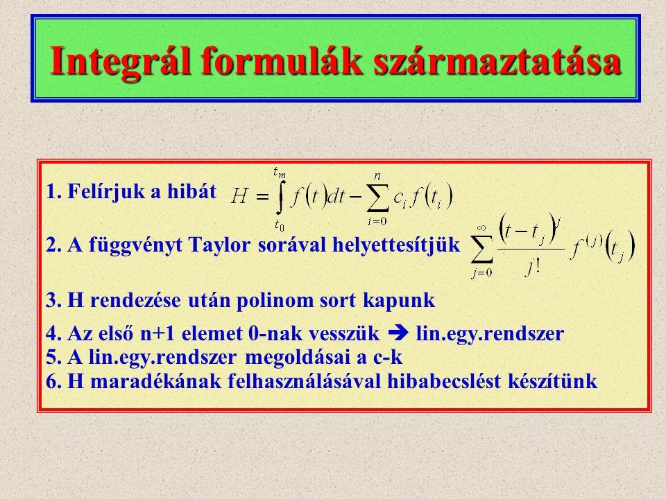 1.Felírjuk a hibát 2.A függvényt Taylor sorával helyettesítjük 3.H rendezése után polinom sort kapunk 4.Az első n+1 elemet 0-nak vesszük  lin.egy.ren