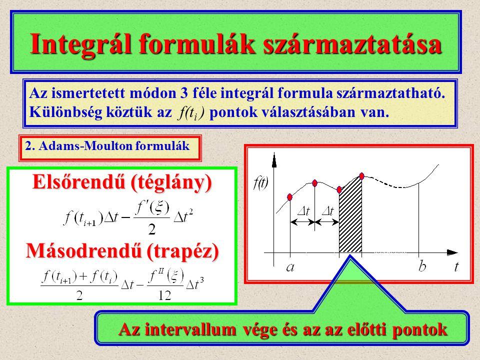 Integrál formulák származtatása 2. Adams-Moulton formulák Az ismertetett módon 3 féle integrál formula származtatható. Különbség köztük az f(t i ) pon