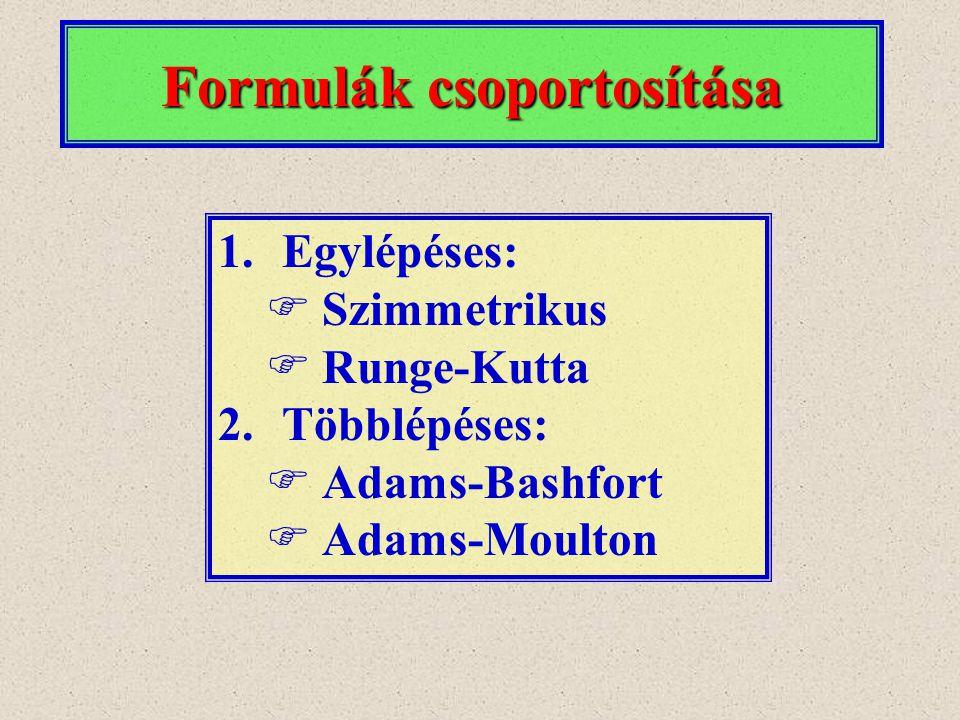 Formulák csoportosítása 1.Egylépéses:  Szimmetrikus  Runge-Kutta 2.Többlépéses:  Adams-Bashfort  Adams-Moulton