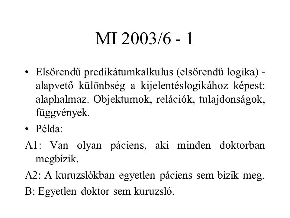 MI 2003/6 - 1 Elsőrendű predikátumkalkulus (elsőrendű logika) - alapvető különbség a kijelentéslogikához képest: alaphalmaz. Objektumok, relációk, tul