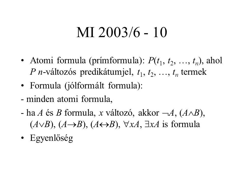 MI 2003/6 - 10 Atomi formula (prímformula): P(t 1, t 2, …, t n ), ahol P n-változós predikátumjel, t 1, t 2, …, t n termek Formula (jólformált formula