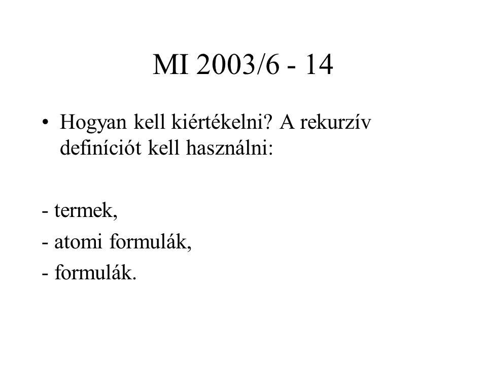 MI 2003/6 - 14 Hogyan kell kiértékelni? A rekurzív definíciót kell használni: - termek, - atomi formulák, - formulák.