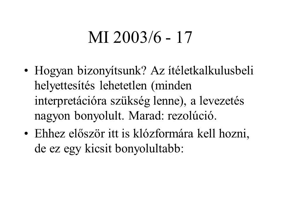 MI 2003/6 - 17 Hogyan bizonyítsunk? Az ítéletkalkulusbeli helyettesítés lehetetlen (minden interpretációra szükség lenne), a levezetés nagyon bonyolul