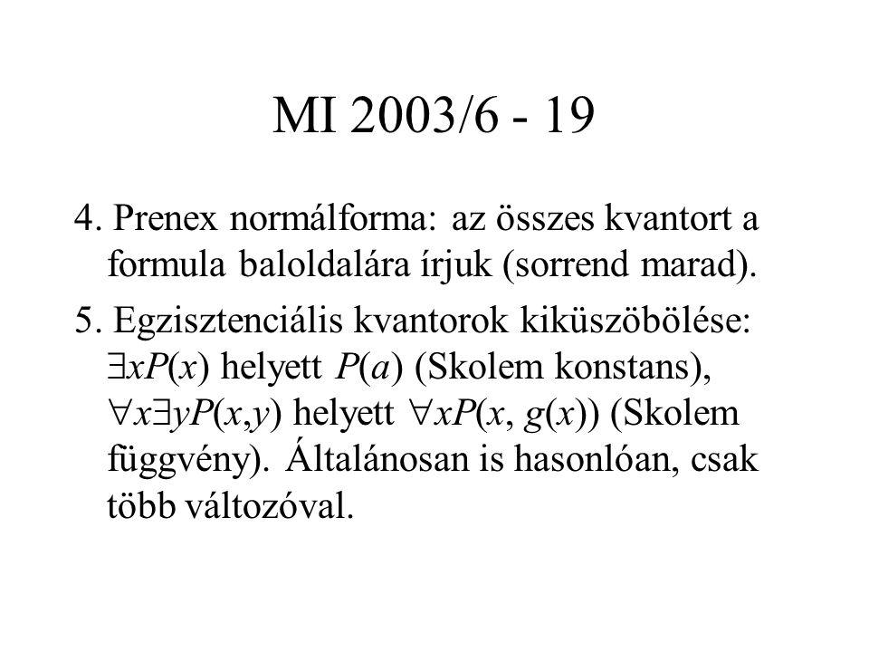 MI 2003/6 - 19 4. Prenex normálforma: az összes kvantort a formula baloldalára írjuk (sorrend marad). 5. Egzisztenciális kvantorok kiküszöbölése:  xP