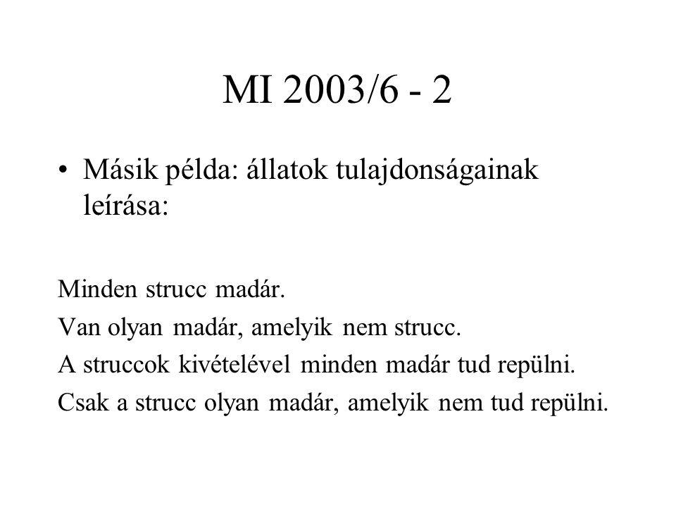 MI 2003/6 - 2 Másik példa: állatok tulajdonságainak leírása: Minden strucc madár. Van olyan madár, amelyik nem strucc. A struccok kivételével minden m