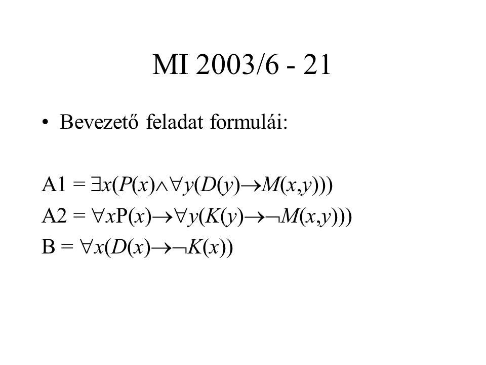 MI 2003/6 - 21 Bevezető feladat formulái: A1 =  x(P(x)  y(D(y)  M(x,y))) A2 =  xP(x)  y(K(y)  M(x,y))) B =  x(D(x)  K(x))