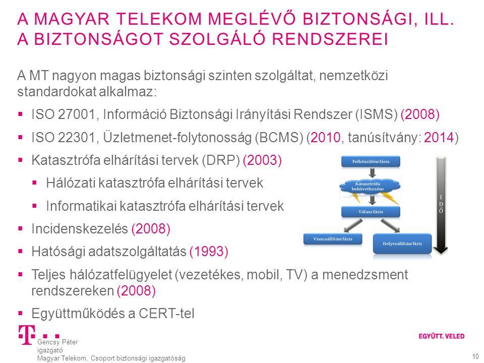Gencsy Péter igazgató Magyar Telekom, Csoport biztonsági igazgatóság 11 VÉDELMI MEGOLDÁSAINK  Épületek biztonsági osztályba sorolása, hierarchikus kulcsrendszer, beléptető rendszer  IT rendszerek biztonsági osztályba sorolása  Kiemelt kábelvédelem, gerinchálózat védelme, megszakító létesítmények védelme  Rádiós hálózatvédelem  Támadás detektálás  Központi LOG gyűjtés és elemzés, NAC bevezetve, DLP előkészítés  Kockázatkezelés, BCM, DRP, CM  ISO 27001 tanusítás (ISMS), komplex jogosultságkezelés  Sebezhetőség vizsgálatok  Irodai környezet védelme  Komplex biztonsági szabályozási rendszer  Biztonság tudatosítás (belsők és partnerek)  … Csak komplex biztonsági rendszerben szabad gondolkozni!!