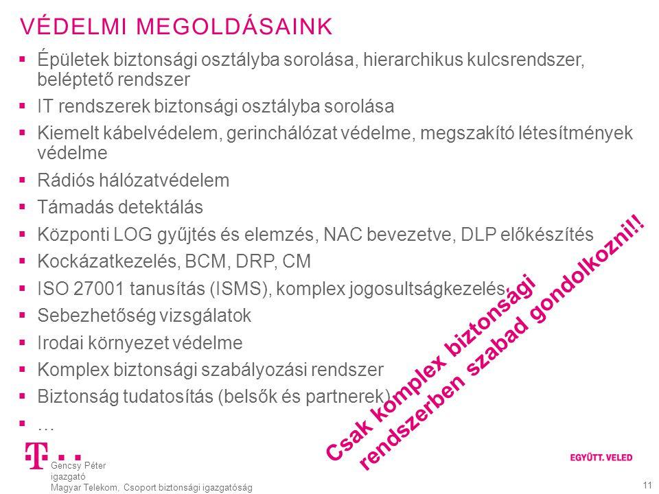 Gencsy Péter igazgató Magyar Telekom, Csoport biztonsági igazgatóság 11 VÉDELMI MEGOLDÁSAINK  Épületek biztonsági osztályba sorolása, hierarchikus ku