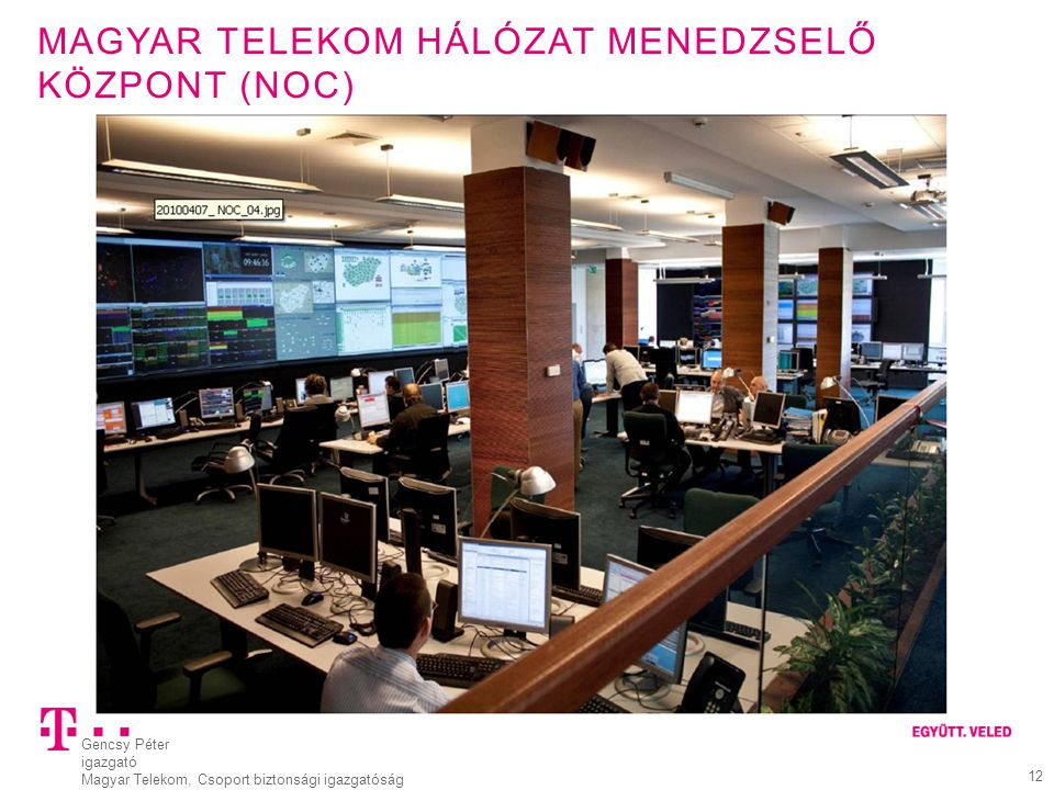 Gencsy Péter igazgató Magyar Telekom, Csoport biztonsági igazgatóság 12 MAGYAR TELEKOM HÁLÓZAT MENEDZSELŐ KÖZPONT (NOC)