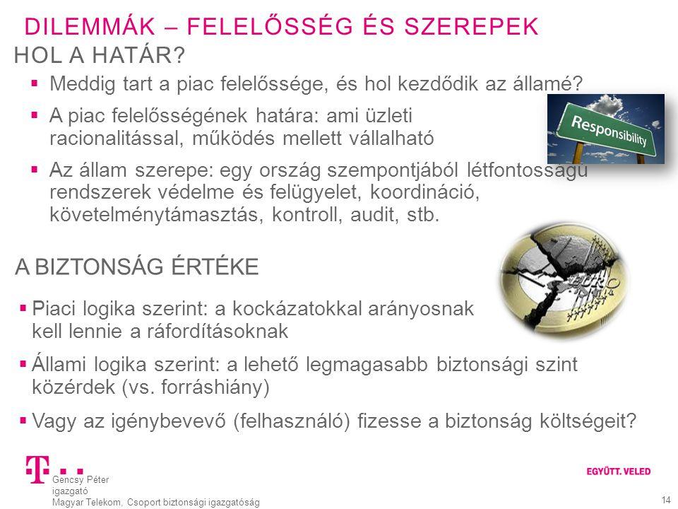 Gencsy Péter igazgató Magyar Telekom, Csoport biztonsági igazgatóság 14 DILEMMÁK – FELELŐSSÉG ÉS SZEREPEK  Meddig tart a piac felelőssége, és hol kez