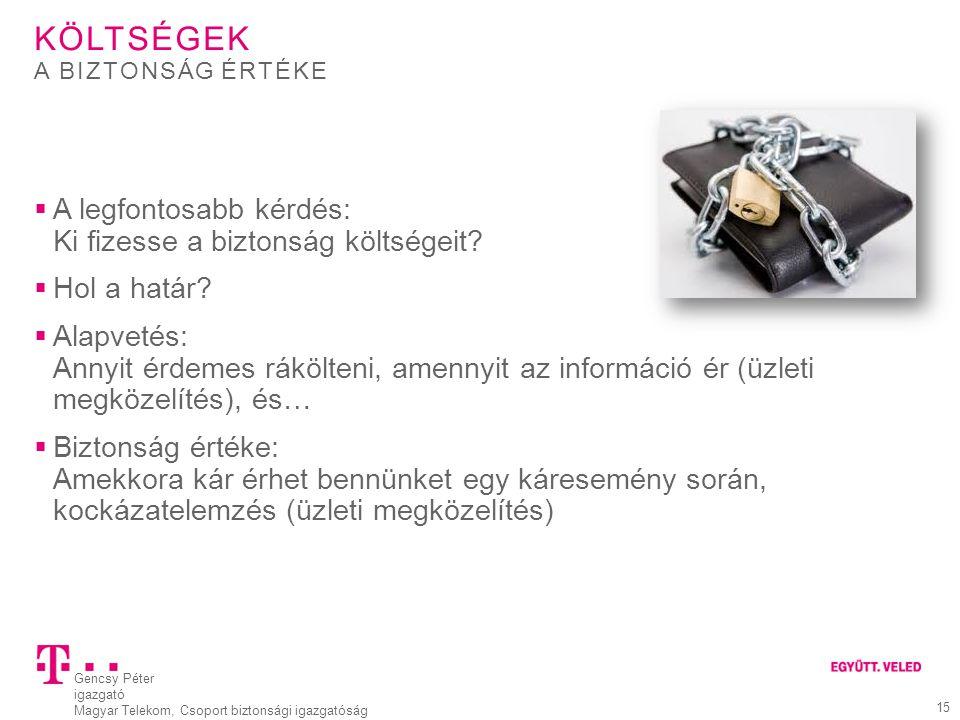 Gencsy Péter igazgató Magyar Telekom, Csoport biztonsági igazgatóság 15 KÖLTSÉGEK  A legfontosabb kérdés: Ki fizesse a biztonság költségeit?  Hol a