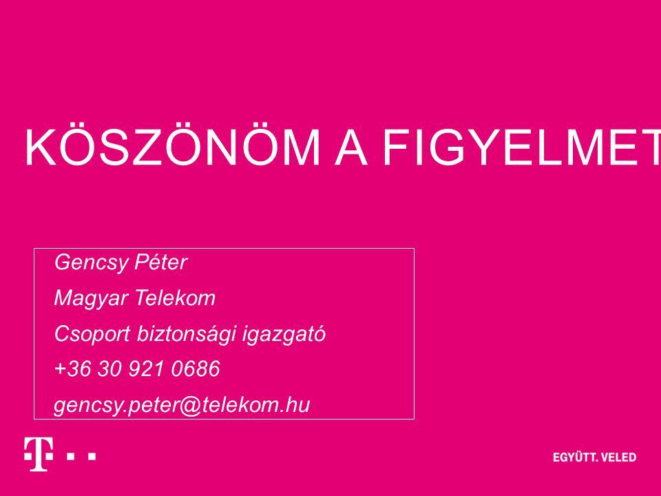 KÖSZÖNÖM A FIGYELMET! 2013/01/1019– strictly confidential / confidential / internal / public – Author / Topic of presentation  Gencsy Péter  Magyar