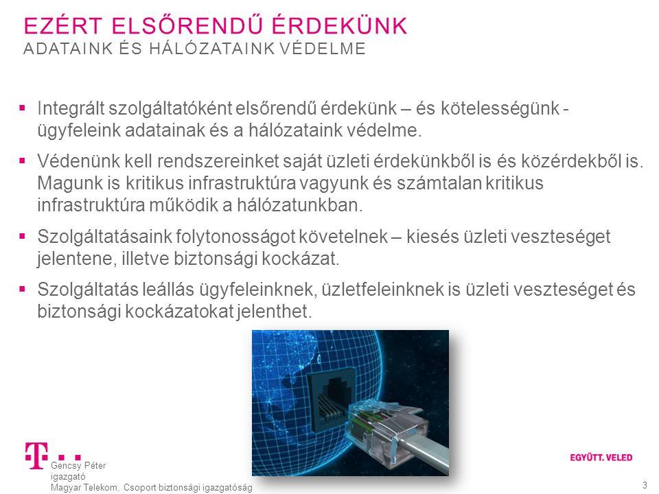 Gencsy Péter igazgató Magyar Telekom, Csoport biztonsági igazgatóság 3 EZÉRT ELSŐRENDŰ ÉRDEKÜNK  Integrált szolgáltatóként elsőrendű érdekünk – és kö