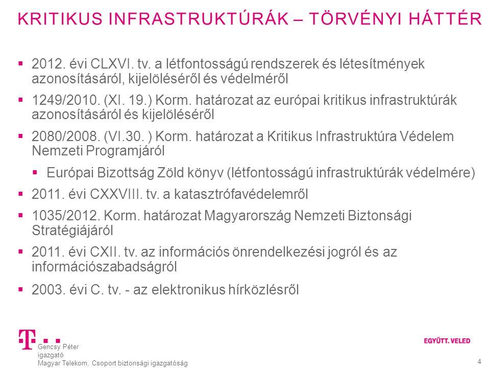 """Gencsy Péter igazgató Magyar Telekom, Csoport biztonsági igazgatóság 5 KRITIKUS INFRASTRUKTÚRÁK – TÖRVÉNYI HÁTTÉR Kritikus infrastruktúra horizontális kritériumai:  Személyi veszteség (áldozatok száma)  Gazdasági hatás (pénzügyi kár, szolgáltatás romlás)  Társadalmi hatás (lakosság érintettsége)  Politikai hatás (közbizalom)  Környezeti hatás (épített vagy természeti környezet) Ágazati kritériumok  2014 január 1.-től az """"Infokommunikációs technológiák a BM Országos Katasztrófavédelmi Főigazgatóság hatáskörébe kerülnek  Jelenleg az infokommunikáció nem létfontosságú rendszerelem."""