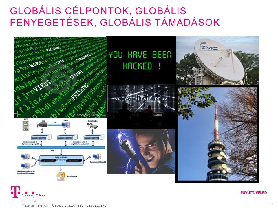 Gencsy Péter igazgató Magyar Telekom, Csoport biztonsági igazgatóság 7 GLOBÁLIS CÉLPONTOK, GLOBÁLIS FENYEGETÉSEK, GLOBÁLIS TÁMADÁSOK Globális fenyeget